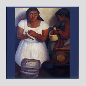 Diego Rivera Tortilla Maker Art Tile Coaster
