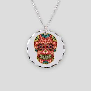 Red Sugar Skull Necklace Circle Charm