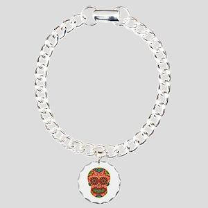 Red Sugar Skull Charm Bracelet, One Charm