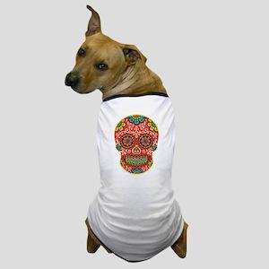 Red Sugar Skull Dog T-Shirt