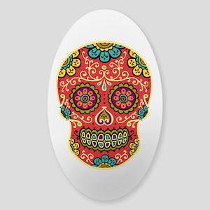 Red Sugar Skull Sticker (Oval)