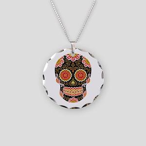 Black Sugar Skull Necklace Circle Charm