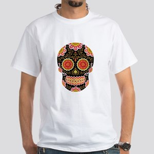 Black Sugar Skull White T-Shirt
