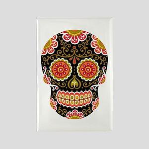 Black Sugar Skull Rectangle Magnet