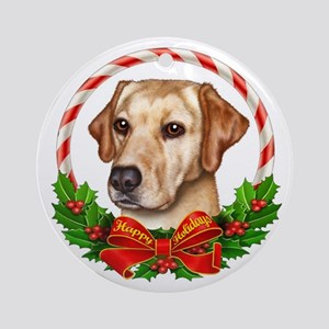 Yellow Lab Wreath Ornament (Round)