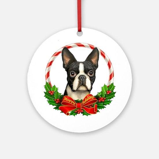 Boston Wreath Ornament (Round)