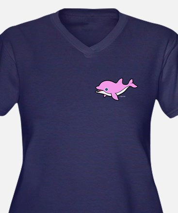 Pink Dolphin Women's Plus Size V-Neck Dark T-Shirt