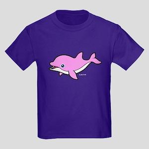 Pink Dolphin (1) Kids Dark T-Shirt