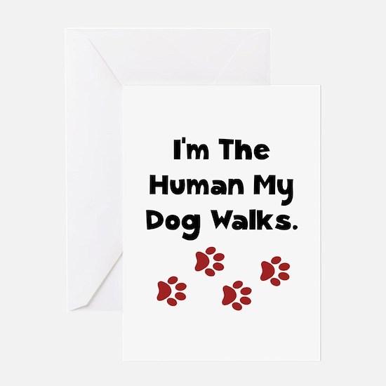Human Dog Walks Greeting Card
