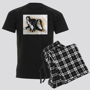 Bernese Mountain Dog Trio Men's Dark Pajamas