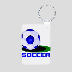 Soccer Ball Blue Aluminum Photo Keychain