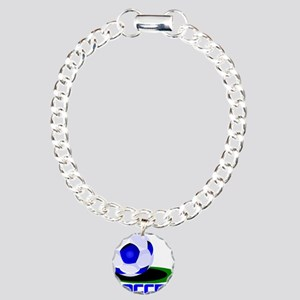 Soccer Ball Blue Charm Bracelet, One Charm