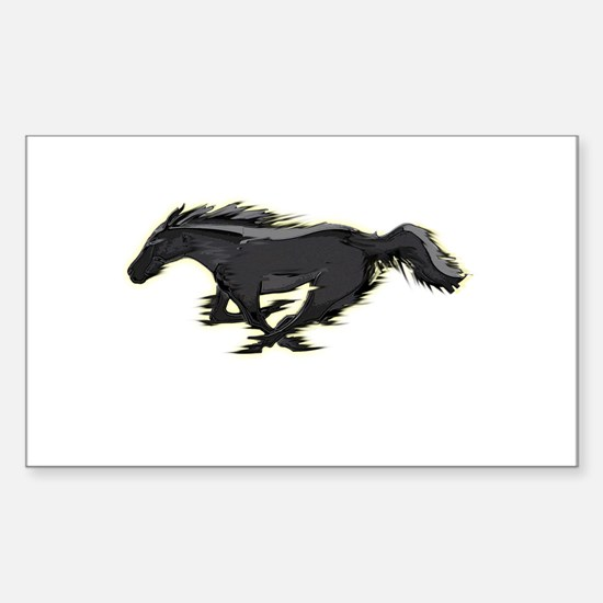 Mustang Running Horse Sticker (Rectangle)