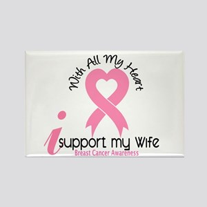 With All My Heart Breast Cancer Rectangle Magnet