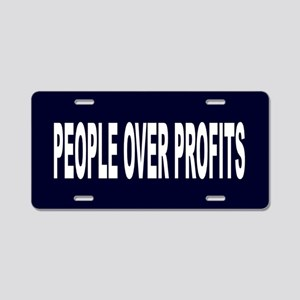 People Over Profits: Aluminum License Plate