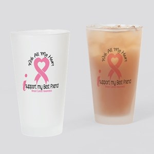 With All My Heart Breast Cancer Drinking Glass