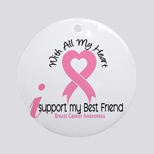 With All My Heart Breast Cancer Ornament (Round)