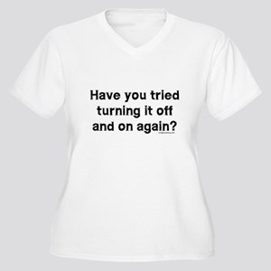 Tried turning it off funny IT Women's Plus Size V-