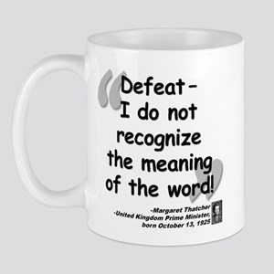 Thatcher Defeat Quote Mug