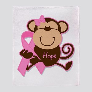Monkey Cancer Hope Throw Blanket