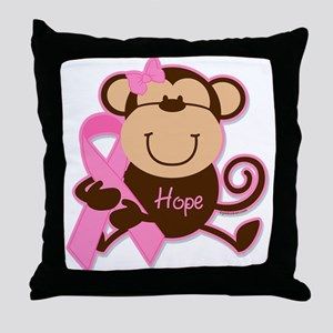 Monkey Cancer Hope Throw Pillow