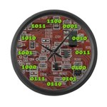 Binary Red Large Wall Clock with Green Numbers