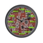 Binary Red Wall Clock with Green Numbers