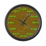 Binary Yellow Large Wall Clock with Green Numbers