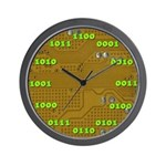 Binary Yellow Wall Clock with Green Numbers