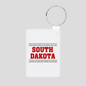 'Girl From South Dakota' Aluminum Photo Keychain