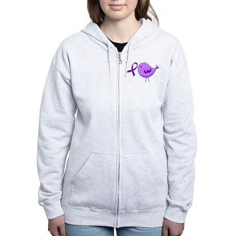 Alzheimer's Purple Ribbon Bird Women's Zip Hoodie