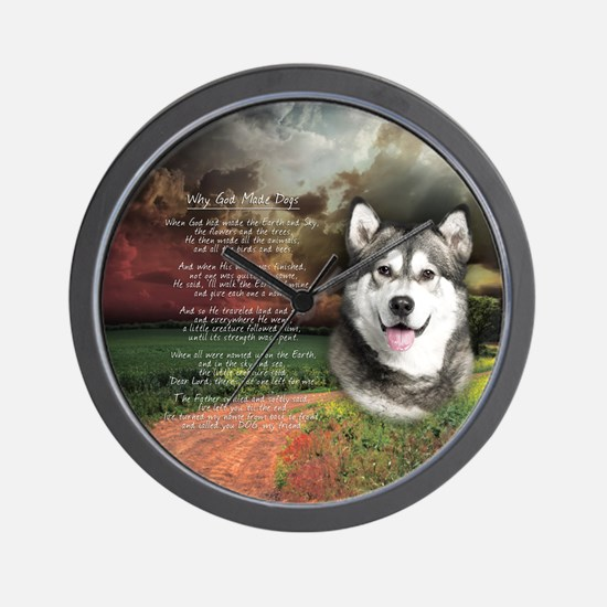 """Why God Made Dogs"" Malamute Wall Clock"