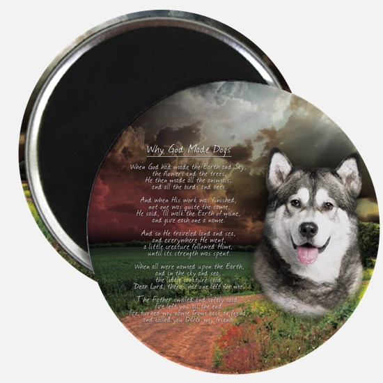 """Why God Made Dogs"" Malamute Magnet"