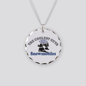 Coolest Guys Snowmobile Necklace Circle Charm