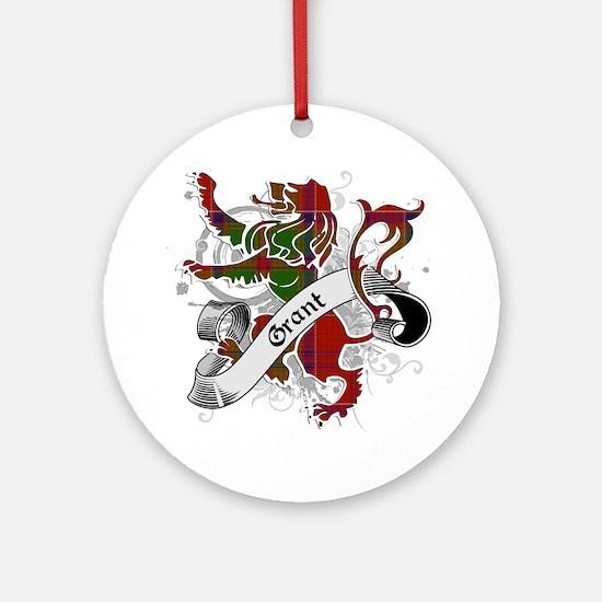 Grant Tartan Lion Ornament (Round)