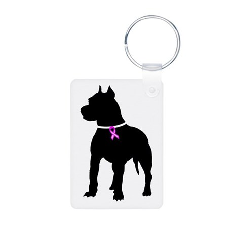 Pitbull Terrier Breast Cancer Aluminum Photo Keych