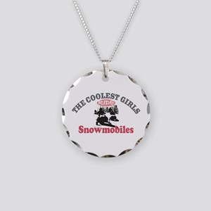Coolest Girls Snowmobile Necklace Circle Charm