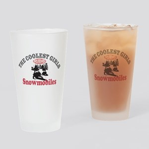 Coolest Girls Snowmobile Drinking Glass
