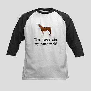 The Horse ate my homework Kids Baseball Jersey