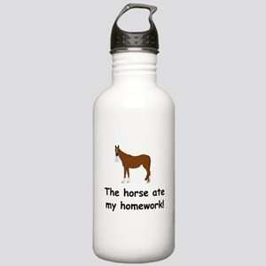 The Horse ate my homework Stainless Water Bottle 1