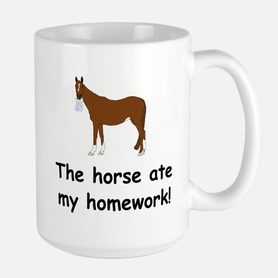 The Horse ate my homework Large Mug