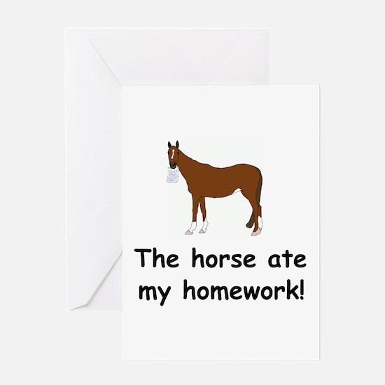 The Horse ate my homework Greeting Card