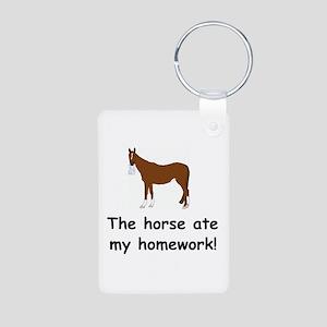The Horse ate my homework Aluminum Photo Keychain