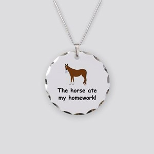 The Horse ate my homework Necklace Circle Charm