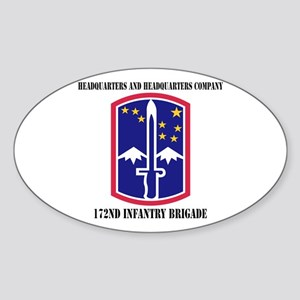 HHC - 172 Infantry Brigade with text Sticker (Oval