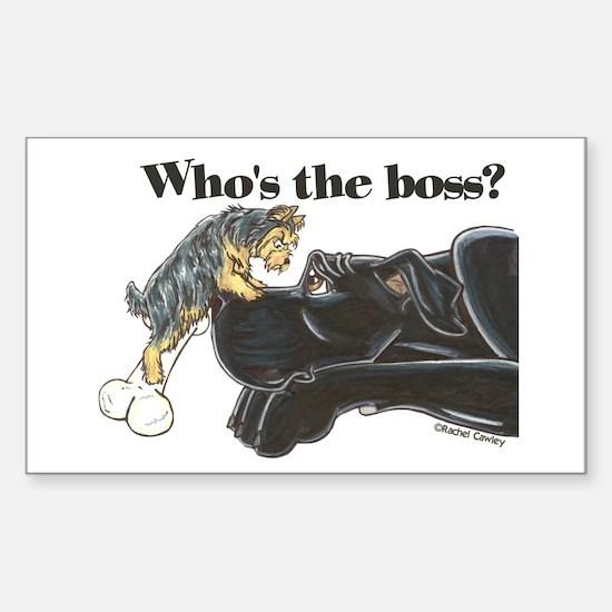NB/Yorki Who's The Boss? Sticker (Rectangle)