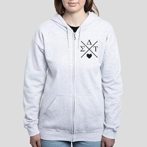 Sigma Delta Tau Cross Women's Zip Hoodie
