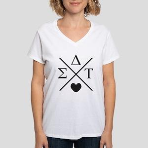 Sigma Delta Tau Cross Women's V-Neck T-Shirt