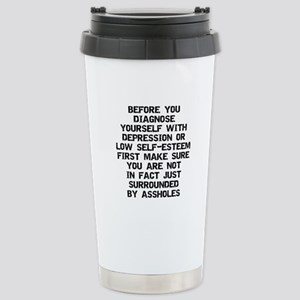 Surrounded by A-Holes Stainless Steel Travel Mug