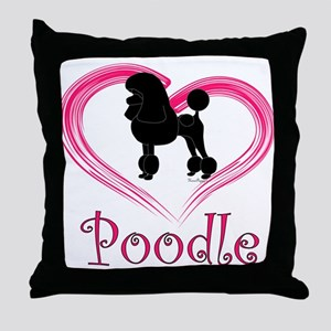 Heart My Poodle Throw Pillow